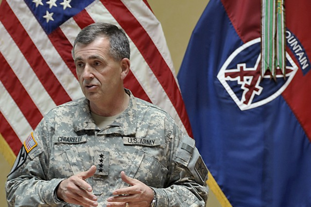 Gen. Peter W. Chiarelli, Army vice chief of staff, speaks Tuesday at Fort Drum about suicide prevention. During an eight-day tour, the general traveled to six Army installations with the assistance of the Army's Suicide Prevention Task Force.