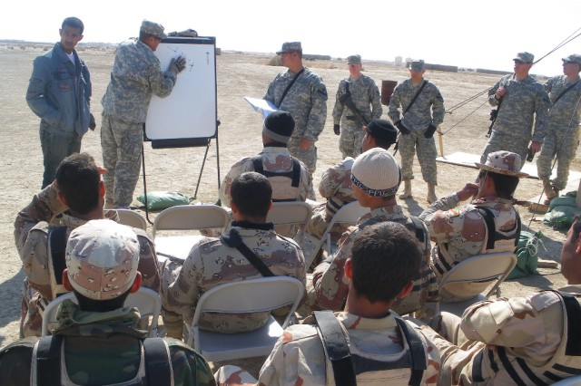 Sgt. Lorenzo Luna, assigned to 2nd Battalion, 12th Cavalry Regiment, 4th Brigade Combat Team, 1st Cavalry Division, instructs troops from the 3rd Battalion, 40th Iraqi Army Brigade on how to enter and clear a room during a three-day training exercise on Forward Operating Base Cedar, Iraq, recently.