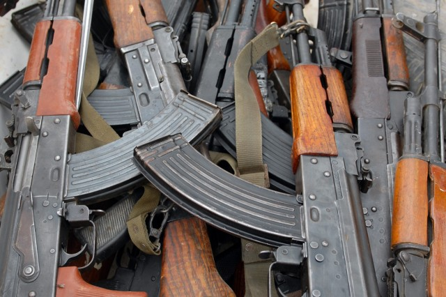 BAGHDAD - Twenty-one unregistered AK 47s were confiscated during Operation Bull Chisel here March 30. Most of the weapons' owners will reclaim their weapon at a later date if they go through the registration process.