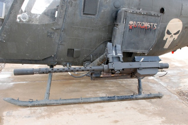 The M3P .50-caliber machine gun pictured here replaced the XM296 .50-cal. this month on 6th Squadron, 6th Cavalry Regiment OH-58D Kiowa Warrior airframes. The change came about as a result of deployed pilots requesting a lighter, more reliable weapon with a higher rate of fire.