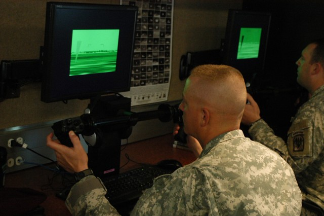 Soldiers of Task Force 1, Joint Readiness Training Center Operations Group, practice on Long-Range Advance Scout Surveillance System simulators March 17.