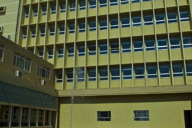 A view from the courtyard area of the new Iraqi Airways International Business Center located in the heart of the Baghdad International Airport complex. The center has been open less than a month and according to Maj. Marcus Snow, the Economic Development officer for the 304th Civil Affairs Brigade, occupants are already moving into the new building. The business center offers foreign business professionals an opportunity to consolidate all their needs under one roof. The center offers VOIP and video conferencing, high-speed internet, banking services, four mid-size conference rooms, translator service, office equipment, company registrations, and legal services. The 304th Civil Affairs Brigade is an Army Reserve brigade composed of Warrior Citizen Soldiers from the Philadelphia area, and are part of the U.S. Army Civil Affairs and Psychological Operations Command (Airborne), headquartered at Fort Bragg, N.C. ""