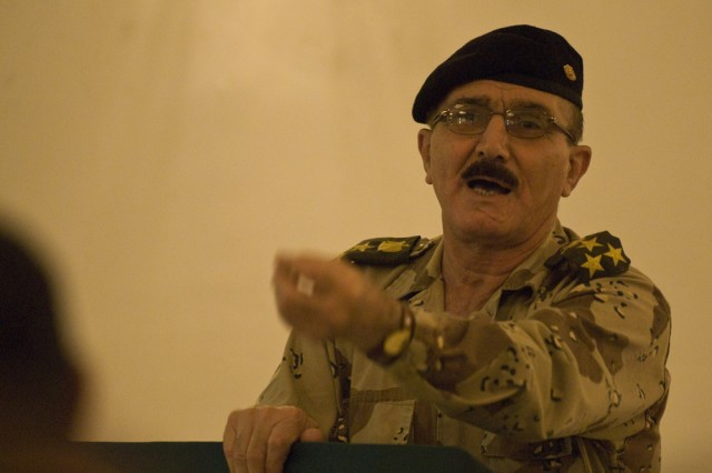 Brig. Gen. Mahmood Khaddar Ghazi, the senior Iraqi officer for civil affairs, addresses senior Iraqi civil affairs officers from various Iraqi divisions around the country at the Al Faw palace on March 12. The conference focused on the Iraqi army's civil military operation's capabilities. The 304th Civil Affairs Brigade assisted the Iraqi army in hosting this event, which allowed civil military operations representatives from all over Iraq to brief the Iraqi and Multi-National Coalition forces on their projects and current state of affairs. This Army Reserve brigade, composed predominantly of Warrior Citizen Soldiers from the Philadelphia area, is part of the U.S. Army Civil Affairs and Psychological Operations Command (Airborne), headquartered at Fort Bragg, N.C. ""