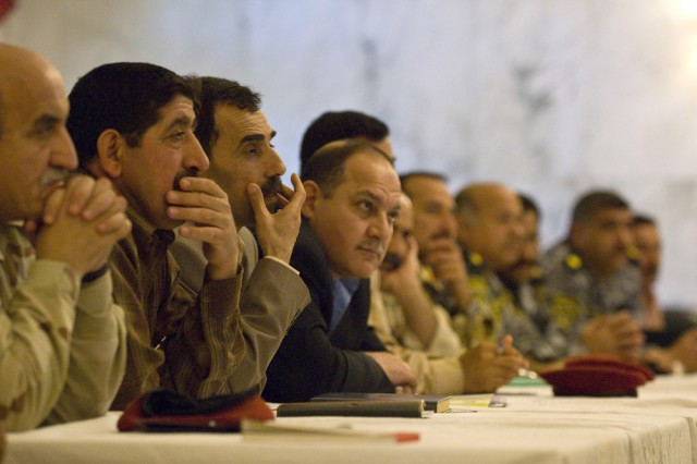 Senior civil affairs officers from various Iraqi divisions around the country gathered at the Al Faw palace on March 12, for briefings on the Iraqi army's civil military operation's capabilities. The 304th Civil Affairs Brigade assisted the Iraqi army in hosting this event, which allowed civil military operations representatives from all over Iraq to brief the Iraqi and Multi-National Coalition forces on their projects and current state of affairs. This Army Reserve brigade, composed predominantly of Warrior Citizen Soldiers from the Philadelphia area, is part of the U.S. Army Civil Affairs and Psychological Operations Command (Airborne), headquartered at Fort Bragg, N.C. ""