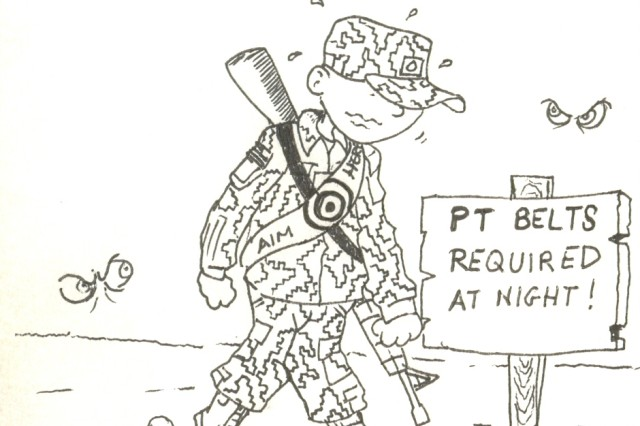 Pfc. Dean Nisenbaum is an AH-64 Apache Longbow mechanic with the 10th Combat Aviation Brigade, 10th Mountain Division. Nisenbaum has been deployed to Contingency Operating Base Speicher, Iraq, since October 2008. His cartoons, representing his vision of life in today's Army, are published monthly in the 10th CAB newsletter, the Falcon Flyer.