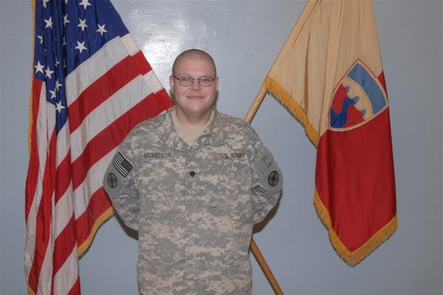 Spc. Eric Mickelson, from Madison, Wis., with the 602nd Maintenance Company from Ft. Hood, Texas, lost 100 pounds and improved his Army physical fitness test score since arriving at Joint Base Balad, Iraq, in April 2008.