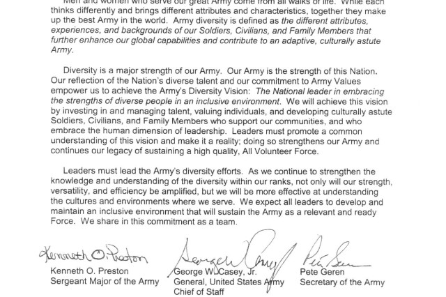 Army Diversity Policy Memo | Article | The United States Army
