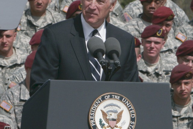 Vice President Joe Biden speaks to the crowd at the XVIII Airborne Corps welcome home ceremony Wednesday at the Fort Bragg Main Post Parade Field. He thanked the Soldiers and their families for the sacrifices they made over the past 15 months.