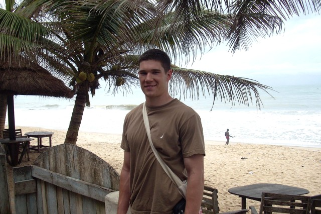 Cadet 3rd Class Marc Beaudoin stops for a photo on the beach in Ghana during a trip with the Conflict and Human Security Studies program. The program, run by the USMA Dept. of Social Sciences, provides the opportunity for cadets to partner with nongovernmental agencies around the world to learn about different cultures.