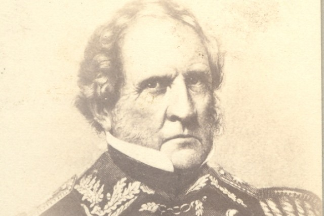 """Winfield Scott was commissioned in the U.S. Army as a Captain of the Light Artillery in May 1808. He served for over fifty-three years, rising to the rank of Major General, serving as the commanding general of the Army from July 1841, till retiring in November 1861.   After Scott's resounding vicotry over Santa Anna, in 1847, in the Mexican-American War, he bestowed the 3rd Infantry's  nickname of """"The Old Guard"""" upon the regiment following its gallant service during the war. (Massachusetts MOLLUS Photograph Collection)."""