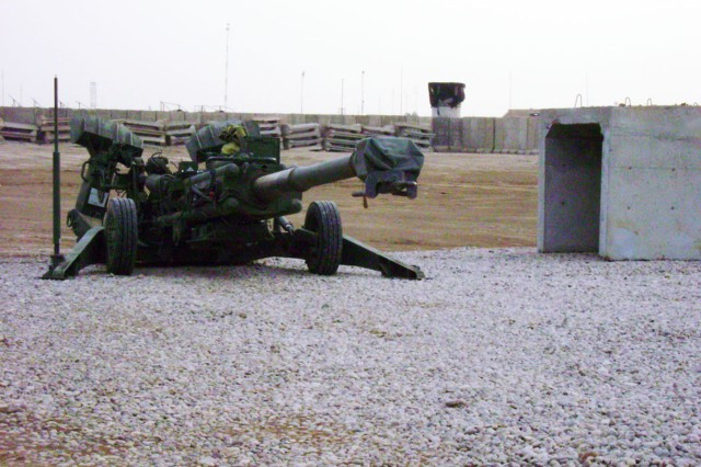 CAMP TAJI, Iraq - An M777A Howitzer sits in place at the newly completed Fire Base Arrowhead. The fire base, the first of its kind at Joint Security Station Istiqlal, is used as a force multiplier for the 1st Battalion, 7th Cavalry Regiment's mission to support Iraqi security forces in the area.