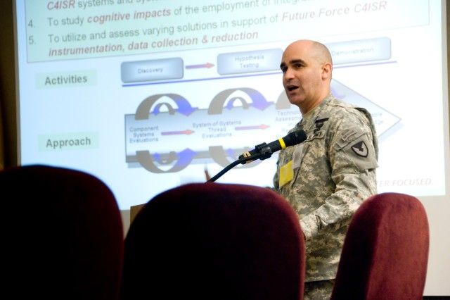 Lt. Col. William T. Utroska, Product Manager, C4ISR OTM, stressed cross-community collaboration to the participants at the E09 Final Planning Conference on March 31 at Fort Dix, N.J.