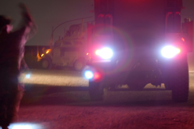 BAGHDAD - Alpha Company, 82nd Brigade Support Battalion, runs convoys day and night in an effort to keep their area of operations supplied with food, ammunition and other needed provisions.