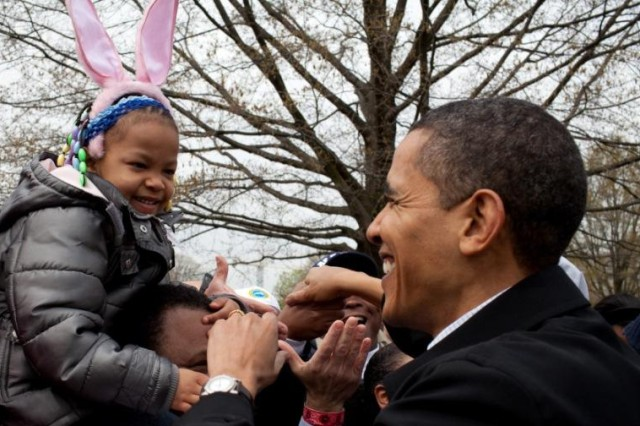 President Barack Obama greets a young participant in Monday's White House Easter Egg Roll.