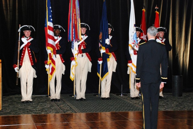 Lt. Gen. Kevin T. Campbell, commander SMDC/ARSTRAT, faces the Old Guard Color Guard as they prepare to retire the Colors prior to the end of this year's ball at the Double Tree Inn, Colorado Springs, Colo on April 3.
