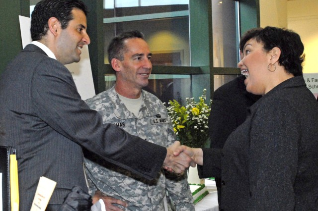 Maryland Representative John Sarbanes (left) and Fort Meade Garrison Commander Col. Daniel L. Thomas (center) greet new Environmental Protection Agency Administrator Lisa Jackson shortly before the EPA Environmental Science Center 10th birthday celebration April 14.