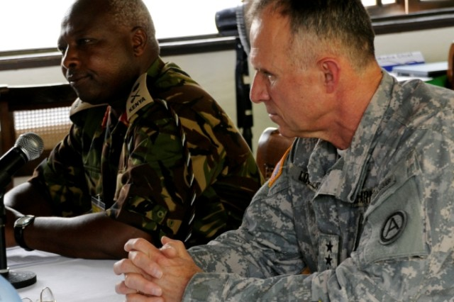 U.S Army Central Commanding General, Lt. Gen. James J. Lovelace and Kenya Army Commander, Lt. Gen. Jackson K. Tuwei take questions during a press conference that was held prior to