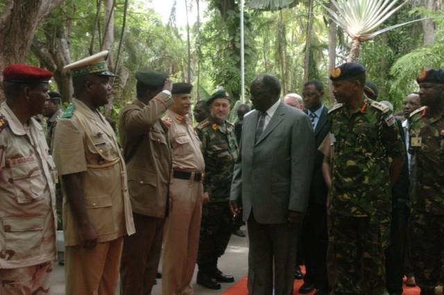 President of Kenya arrives at the 2009 Land Forces Symposium