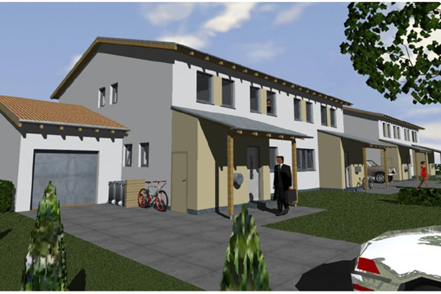 Artist's renditions of the exterior and interior of the new $133 million Army family housing community to be built south of the Wiesbaden Army Airfield by 2012.