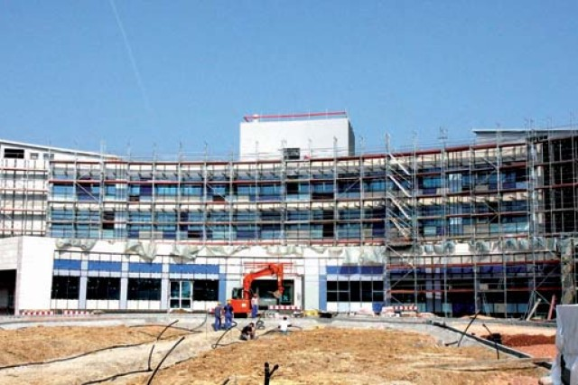 After almost two years of construction, the U.S. Army's 164-room Wiesbaden lodge, said to be one of the most modern-looking buildings in the German city, is nearing completion.