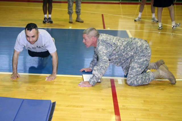 USASMDC/ARSTRAT Soldiers participate in an Army physical fitness test on Redstone Arsenal, Ala., April 20.