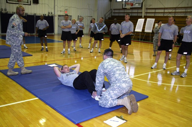 USASMDC/ARSTRAT Soldiers participate in the headquarter's Army physical fitness test on Redstone Arsenal, Ala., April 20.