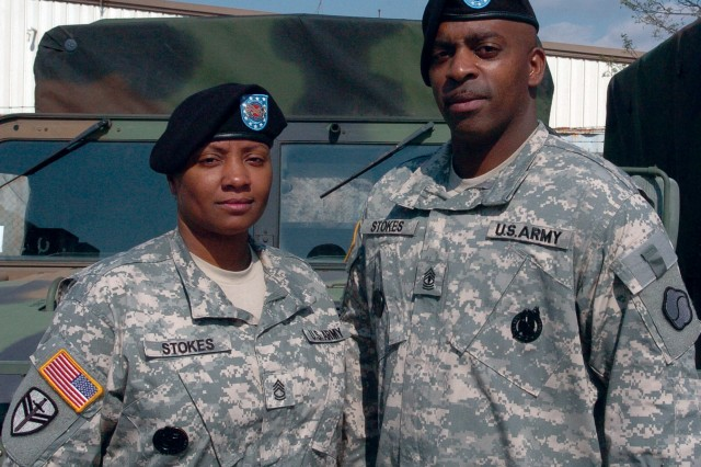 Sgt. 1st Class Warnie Stokes and 1st Sgt. Chelsie Stokes have served more than 40 years of combined Army service.