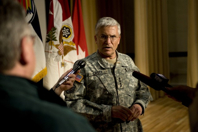 General George W. Casey Jr., chief of staff of the Army, conducts a press conference with members of the local and national media during his visit at Ft. Lewis, WA, on Apr. 7, 2009.   Army photo by D. Myles Cullen (released)