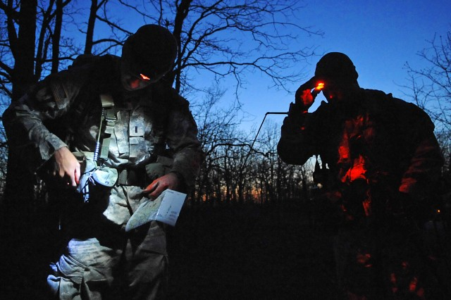 "Two-person teams of Army engineers are given six hours to complete a land navigation course during phase five of the ""Best Sapper"" competition at Fort Leonard Wood, Mo."