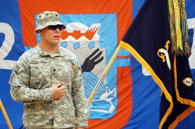 BAGHDAD- Spc. Gaspar Grijalva, of El Paso, Texas, speaks to fellow Paratroopers in attendance after being awarded the Army Commendation Medal with Valor April 24 at Joint Security Station Loyalty, located in the 9 Nissan District of eastern Baghdad. Grijalva was awarded the medal for treating wounded Paratroopers while under enemy fire on the evening of Jan. 10 in the city of Beladiyat. Grijalva is assigned to Company D, 2nd Battalion, 505th Parachute Infantry Regiment, 3rd Brigade Combat Team, 82nd Airborne Division, Multi-National Division - Baghdad, based out of Fort Bragg, N.C.