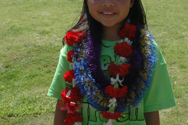SCHOFIELD BARRACKS, Hawaii - Amber Mirafuentes, 10, a fifth grader at Mililani Mauka and winner of the Arbor Day poster contest. Amber was recognized at the Earthday Festival, held April 19 at the Kalakaua Community Center.