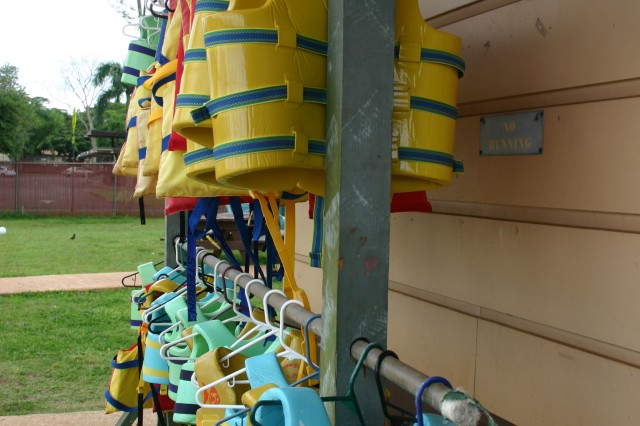 SCHOFIELD BARRACKS, Hawaii - Life jackets are available at all Family and Morale, Welfare and Recreation (FMWR) pools for children ages 5 and younger.