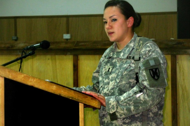 1st Lt. Jacqueline Woods, 3rd Platoon Leader for the 147th Adjutant General Company (Postal), recalls in her tribute to Spc. Daniel J. Beard how much he sought to prepare himself to be a noncommissioned officer, during a memorial service at Contingency Operating Base Adder, Iraq, April 9.