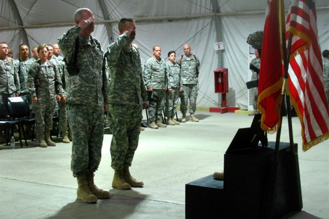 A memorial service was held at Contingency Operating Base Adder Memorial Hall, April 9, to honor a fallen 3d Sustainment Command (Expeditionary) Soldier, Spc. Daniel J. Beard. Among guests paying tribute at the Memorial was 3rd ESC Commander General, Brig. Gen. Michael J. Lally.