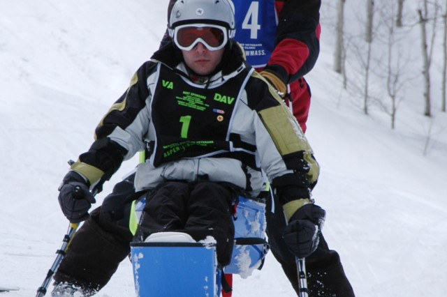 Pfc. Alan Babin (No. 1) is  returning participant at the National Disabled Veterans Winter Sports Clinic. Babin was an Army combat medic when he sustained a gunshot wound to the abdomen while rushing to render aid to a wounded soldier in Iraq.