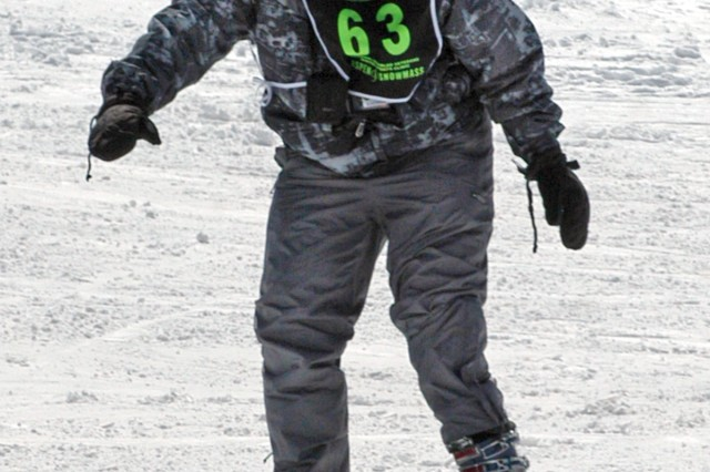 Sgt. Ramsey Coggins of Laurel, Md., skis at his first National Disabled Veterans Winter Sports Clinic. Coggins, who receives care at Walter Reed Army Medical Center, lost the lower portion of his left leg from an IED blast while serving in Iraq.