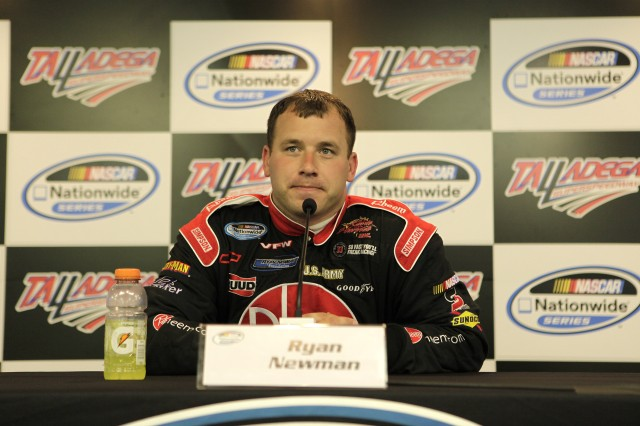 NASCAR driver Ryan Newman answers questions Sunday from the press at Talladega Superspeedway. (The Army was not the lead sponsor of the 39 Chevy Impala SS Sunday.)