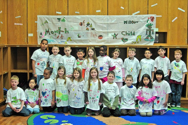 West Point's School Age Services youth have been involved in several activities celebrating the Month of the Military Child to include designing the T-shirts they are wearing. West Point's children created poems and posters about what being a military child means to them. The children created a banner stating why they are every day heroes. On May 1, SAS will have parents come to the facility to present their children with certificates for being every day heroes. The artwork the children made for the MOMC will be displayed at this event.