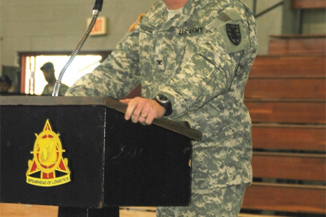 Col. Charles F. Maskell, commander 7th Sustainment Brigade, addresses the 53rd Trans. Bn. at their welcome home ceremony Monday morning at Anderson Field House.