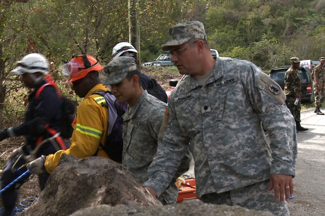 In April, the U.S. Army South conducted Fuerzas Aliadas Humanitarias (FAHUM) 2009 along with partner nations from the Caribbean and Central America. The training exercise enhances disaster relief and response coordination between military, governmental, and nongovernmental organizations from throughout the hemisphere.