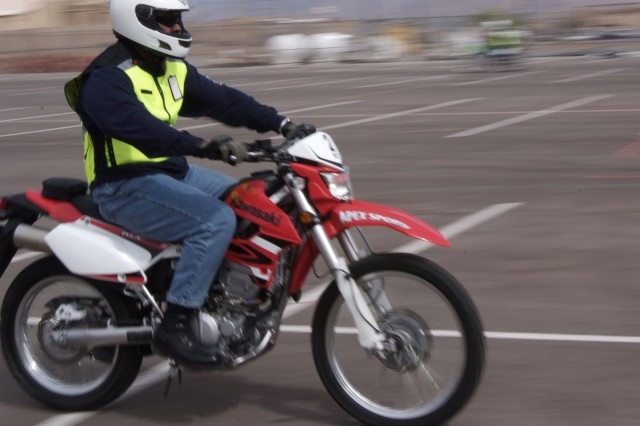 1st Sgt. George Armstrong executes a safe riding technique during the first Motorcycle Safety Foundation Basic Riders Course to be given at White Sands Missile Range March 20. The safety course is a requirement for all motorcycle riders to drive on a military installation.