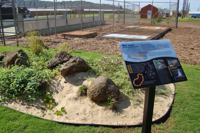 """SCHOFIELD BARRACKS, Hawaii - """"Kaena"""" or the coastal dry shrubland, is one of five habitats represented at the OANRP's interpretive garden."""