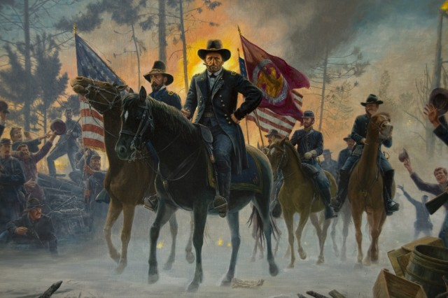 """""""On to Richmond"""". This painting depicts Lt. General Ulysses S. Grant on the field during the Battle of the Wilderness, Virginia, May 5-7, 1864. To Grant's right is depicted Major General George Gordon Meade, commander of the Army of the Potomac. Meade's forces had crossed the Rappahannock River on May 4, but were forced to stop in the area known as the Wilderness to wait for the supply train to catch up. Confederate General Robert E. Lee resolved to attack the Federal forces while they were in the difficult Wilderness terrain. Fighting was so intense that the trees and underbrush in many places caught fire, the glow of which can be seen in the background. Grant's horse was named Cincinnati; Meade's was Baldy (sometimes called Old Baldy).The red, swallow tailed flag is the Army of the Potomac Headquarters flag. The Artist is: Mort Kunstler. The painting was commissioned by the Army War College Class of 1991 as a gift to the College. (Photograph by: Megan Clugh, USAWC Photographer)."""