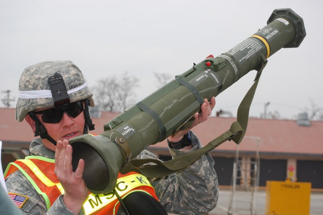 The M136 AT4, the Army's primary light anti-tank weapon, was one of the items issued to the Soldiers of Task Force Hawkins II.