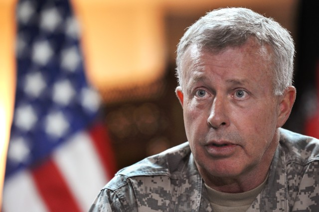 McKiernan speaks to media in Afghanistan