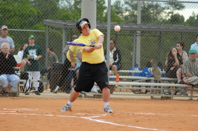Adam Welsh takes good cut during the softball tournament Saturday at Hilton Field Softball Complex. The aquatics, bowling and softball events of the Special Olympics Summer Games took place on Fort Jackson.
