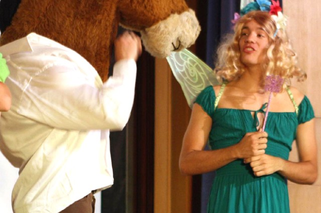 """Titania (Firstie Adam Bishop) discusses love with a transformed Nick Bottom (Black Jack) during an interpretation of """"A Midsummer Night's Dream"""" in part of """"Seduced by Shakespeare."""" The play was presented April 30 in Robinson Auditorium by the English Dept. as part of Projects Day."""