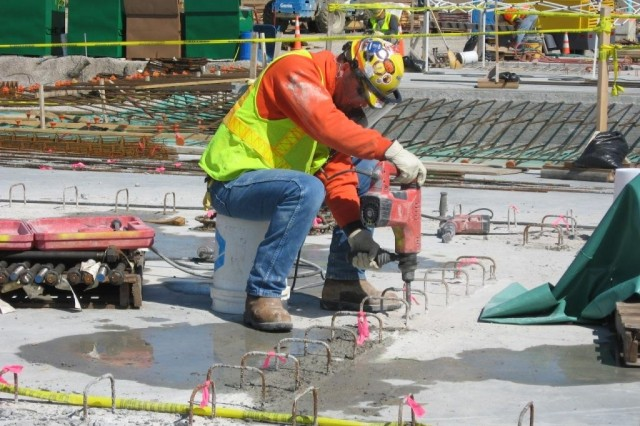 Work continues on a series of major concrete placements for  the Munitions Demilitarization Building.