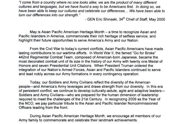 Asian Pacific Heritage Month senior Army leader message