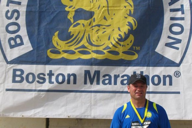 "Sgt. 1st Class Chris Baker, 287th Sustainment Brigade postal noncommissioned officer in charge, native of Quincy, Mass. placed fourth overall in the Boston Athletic Association-sanctioned ""Boston Marathon in Iraq"" at Contingency Operating Base Adder, Iraq April 18."